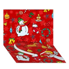 Cute Christmas Seamless Pattern Vector  Heart Bottom 3D Greeting Card (7x5)