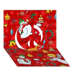 Cute Christmas Seamless Pattern Vector  Peace Sign 3d Greeting Card (7x5)