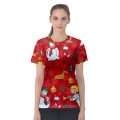 Cute Christmas Seamless Pattern Vector  Women s Sport Mesh Tee