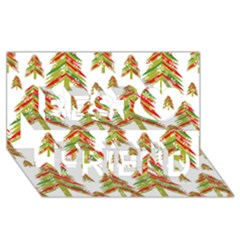 Cute Christmas Seamless Pattern Vector    Best Friends 3D Greeting Card (8x4)