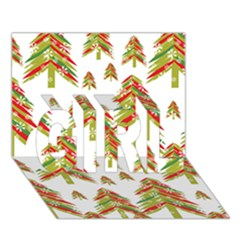 Cute Christmas Seamless Pattern Vector    Girl 3d Greeting Card (7x5)