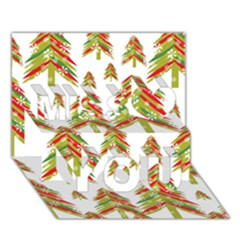 Cute Christmas Seamless Pattern Vector    Miss You 3D Greeting Card (7x5)