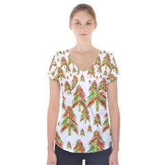 Cute Christmas Seamless Pattern Vector    Short Sleeve Front Detail Top