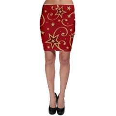 Elements Of Christmas Decorative Pattern Vector Bodycon Skirt