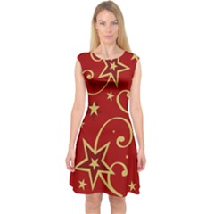 Elements Of Christmas Decorative Pattern Vector Capsleeve Midi Dress