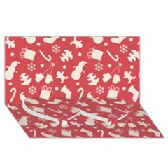 Pattern Christmas Elements Seamless Vector Twin Heart Bottom 3D Greeting Card (8x4)