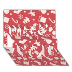 Pattern Christmas Elements Seamless Vector Miss You 3d Greeting Card (7x5)