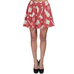 Pattern Christmas Elements Seamless Vector Skater Skirt