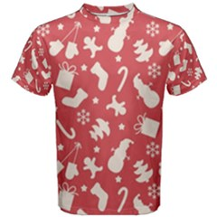 Pattern Christmas Elements Seamless Vector Men s Cotton Tee