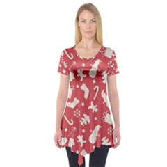 Pattern Christmas Elements Seamless Vector Short Sleeve Tunic