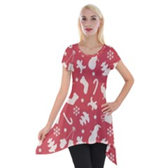 Pattern Christmas Elements Seamless Vector Short Sleeve Side Drop Tunic