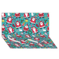 Cute Christmas Seamless Pattern Vector   Twin Heart Bottom 3d Greeting Card (8x4)