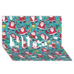 Cute Christmas Seamless Pattern Vector   Hugs 3d Greeting Card (8x4)