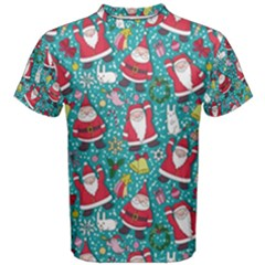 Cute Christmas Seamless Pattern Vector   Men s Cotton Tee