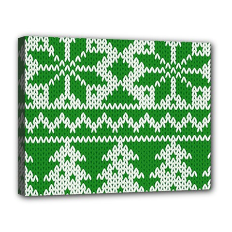 Knitted Fabric Christmas Pattern Vector Canvas 14  X 11