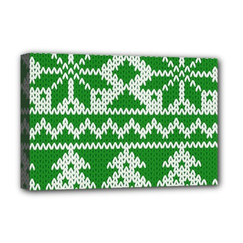 Knitted Fabric Christmas Pattern Vector Deluxe Canvas 18  X 12