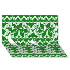 Knitted Fabric Christmas Pattern Vector Twin Hearts 3d Greeting Card (8x4)
