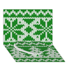 Knitted Fabric Christmas Pattern Vector Heart Bottom 3d Greeting Card (7x5)