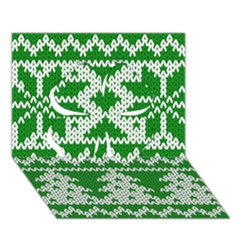 Knitted Fabric Christmas Pattern Vector Clover 3d Greeting Card (7x5)