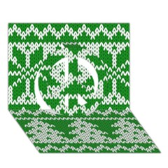 Knitted Fabric Christmas Pattern Vector Peace Sign 3d Greeting Card (7x5)