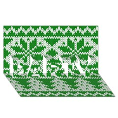 Knitted Fabric Christmas Pattern Vector Party 3d Greeting Card (8x4)