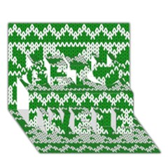 Knitted Fabric Christmas Pattern Vector Get Well 3d Greeting Card (7x5)