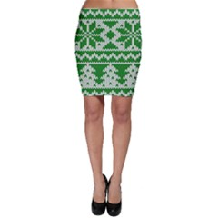 Knitted Fabric Christmas Pattern Vector Bodycon Skirt