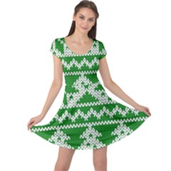 Knitted Fabric Christmas Pattern Vector Cap Sleeve Dresses