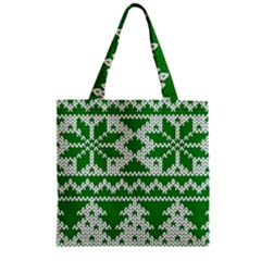 Knitted Fabric Christmas Pattern Vector Zipper Grocery Tote Bag