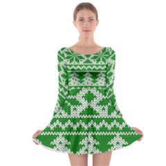 Knitted Fabric Christmas Pattern Vector Long Sleeve Skater Dress