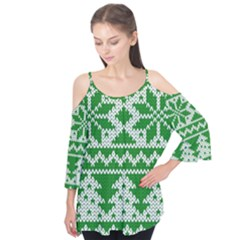 Knitted Fabric Christmas Pattern Vector Flutter Tees