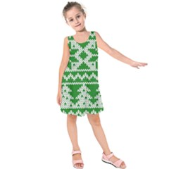 Knitted Fabric Christmas Pattern Vector Kids  Sleeveless Dress
