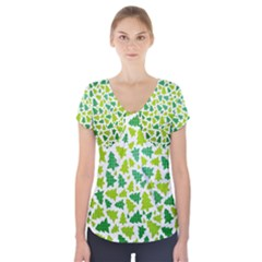 Pattern Christmas Elements Seamless Vector  Short Sleeve Front Detail Top