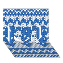 Knitted Fabric Christmas Pattern Vector I Love You 3d Greeting Card (7x5)