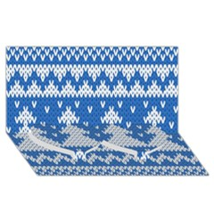 Knitted Fabric Christmas Pattern Vector Twin Heart Bottom 3d Greeting Card (8x4)