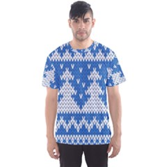 Knitted Fabric Christmas Pattern Vector Men s Sport Mesh Tee