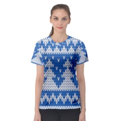 Knitted Fabric Christmas Pattern Vector Women s Sport Mesh Tee