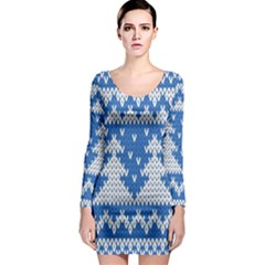 Knitted Fabric Christmas Pattern Vector Long Sleeve Bodycon Dress
