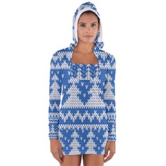 Knitted Fabric Christmas Pattern Vector Women s Long Sleeve Hooded T Shirt