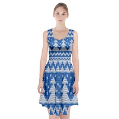 Knitted Fabric Christmas Pattern Vector Racerback Midi Dress