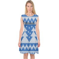 Knitted Fabric Christmas Pattern Vector Capsleeve Midi Dress