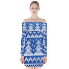 Knitted Fabric Christmas Pattern Vector Long Sleeve Off Shoulder Dress