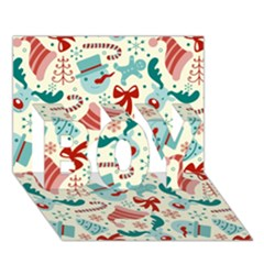 Pattern Christmas Elements Seamless Vector       Boy 3d Greeting Card (7x5)