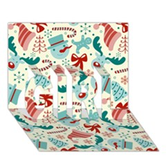 Pattern Christmas Elements Seamless Vector       Girl 3d Greeting Card (7x5)
