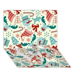 Pattern Christmas Elements Seamless Vector       LOVE Bottom 3D Greeting Card (7x5)