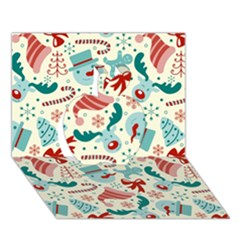 Pattern Christmas Elements Seamless Vector       Apple 3d Greeting Card (7x5)