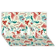 Pattern Christmas Elements Seamless Vector       Best Bro 3d Greeting Card (8x4)