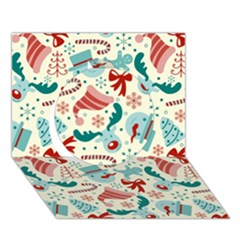 Pattern Christmas Elements Seamless Vector       Circle 3d Greeting Card (7x5)