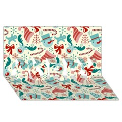 Pattern Christmas Elements Seamless Vector       Sorry 3d Greeting Card (8x4)