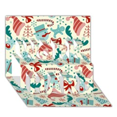 Pattern Christmas Elements Seamless Vector       Work Hard 3d Greeting Card (7x5)